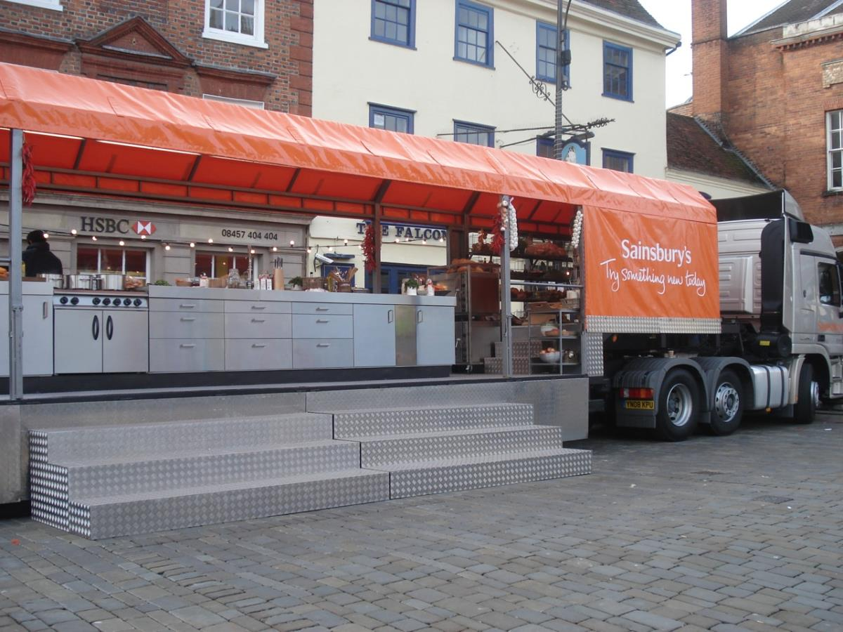 Supply of prep and production equipment with back-up kitchens for off camera production for Jamie Oliver's TV roadshow.